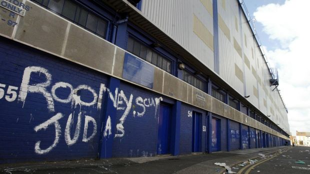 Graffiti outside Goodison Park after Rooney moved to Manchester United in 2004. Photo: PA