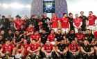 British and Irish Lions and New Zealand All Blacks's teams on the podium after at the presentation of the series trophy. Photo: Billy Stickland/Inpho