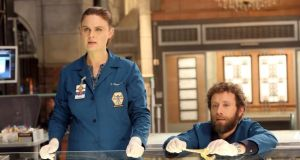 Bones: Emily Deschanel, as Temperance Brennan, with TJ Thyne in the series based on Kathy Reichs's novels. Photograph:  Fox via Getty
