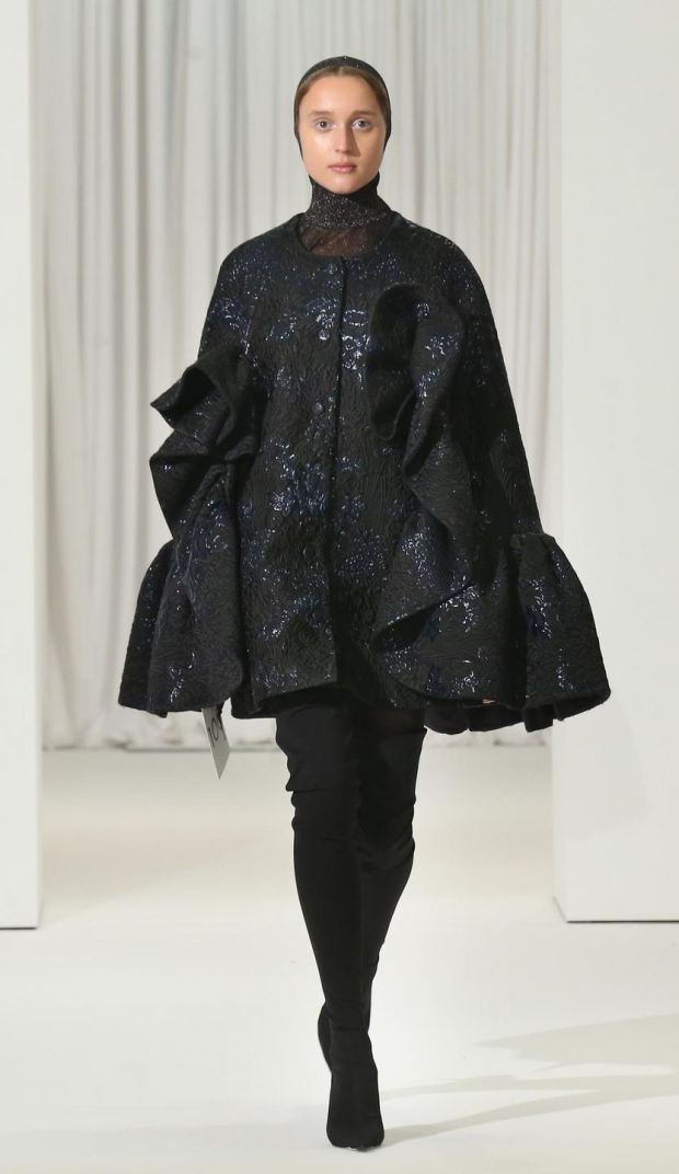 Black trapeze coat by Delpozo