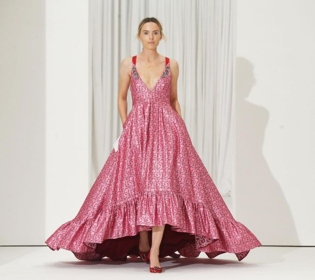 Floor-length pink gown by Erdem