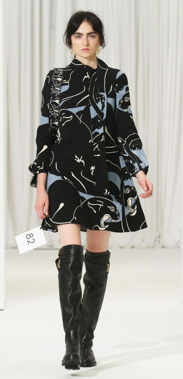 Blue and black print dress coat by Valentino