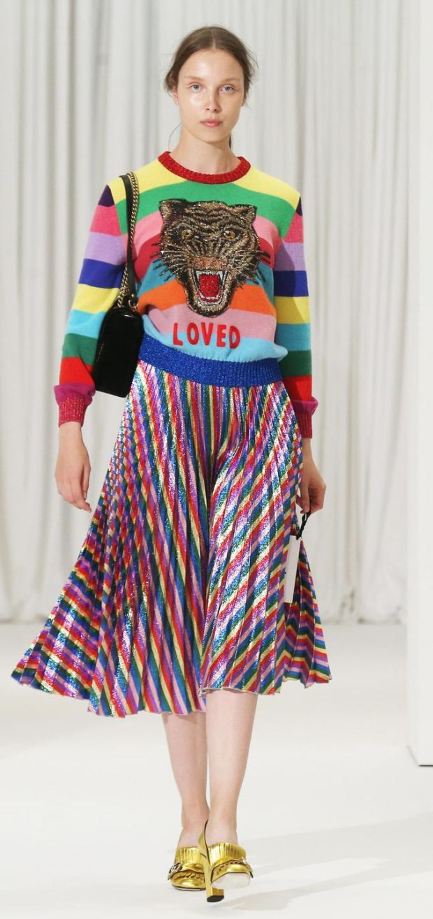 Clashing stripes and colours by Gucci