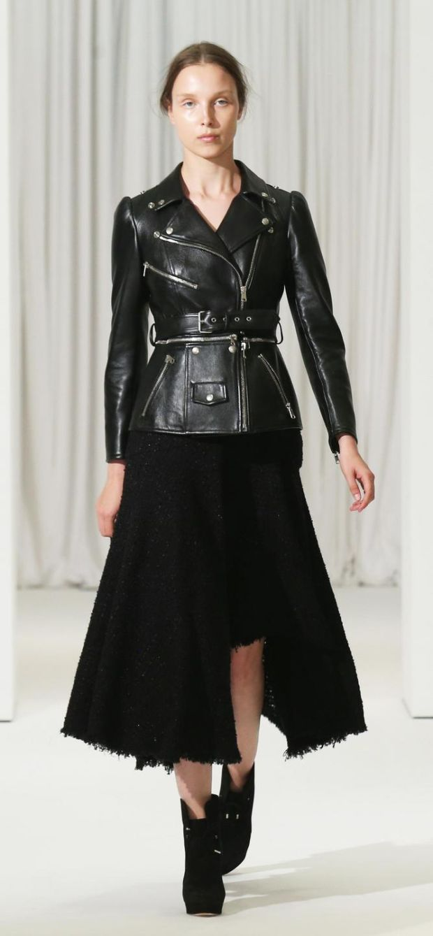 Tailored black leather jacket and skirt by Alexander McQueen