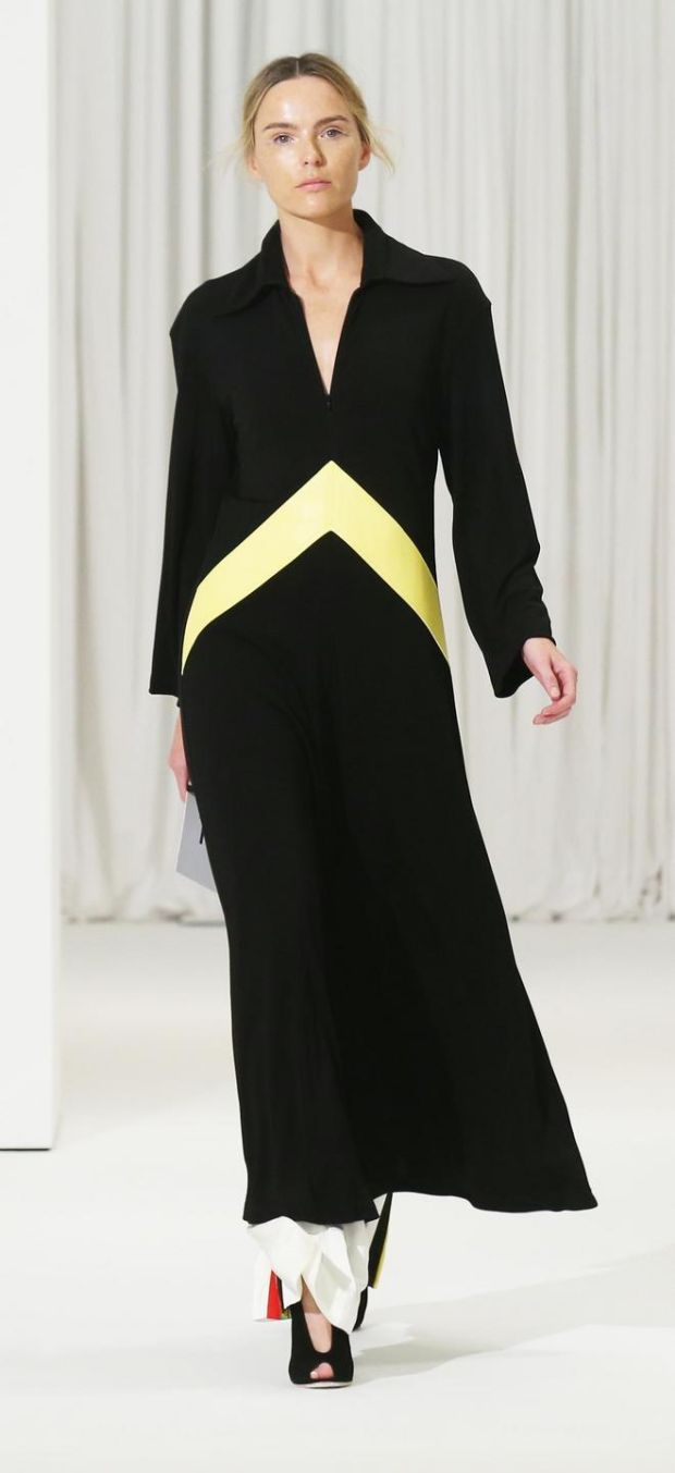 Dramatic black and yellow coat by Celine
