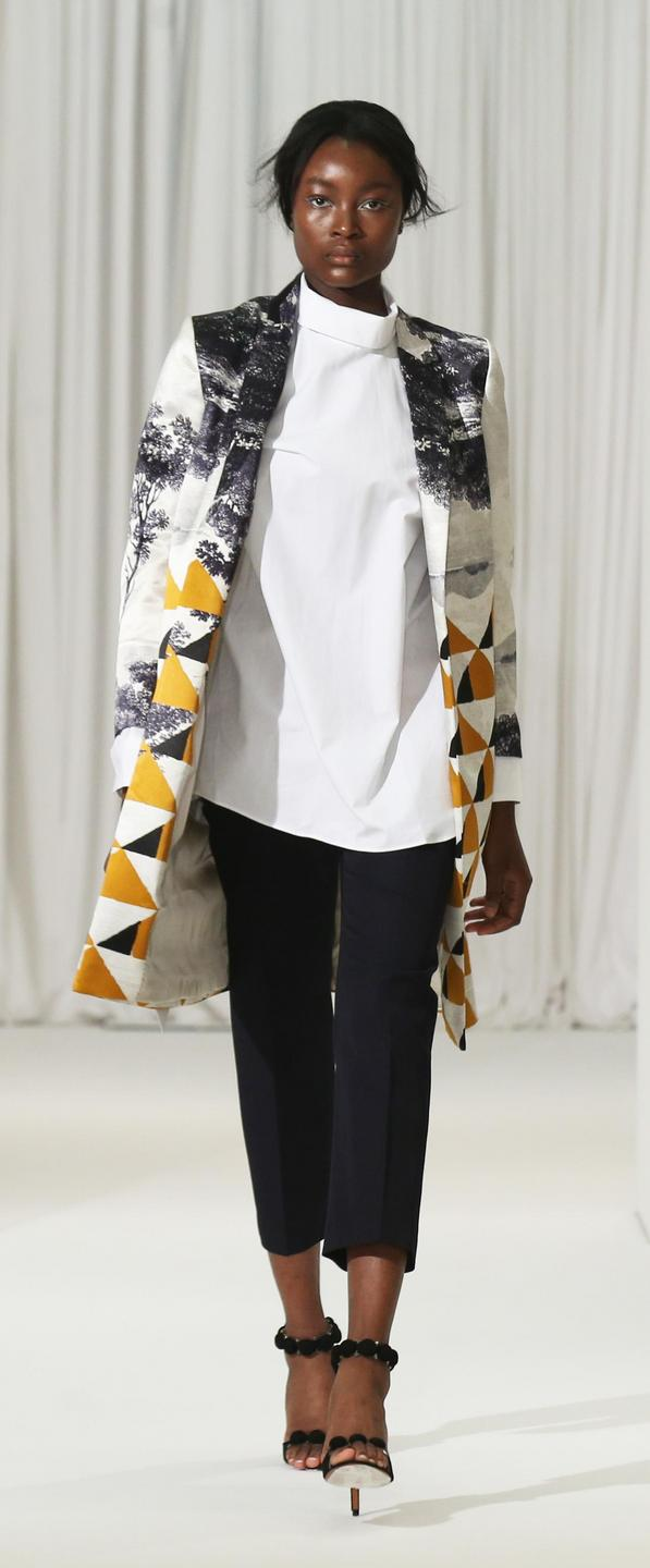 Geometric print jacket and separates by Dries Van Noten
