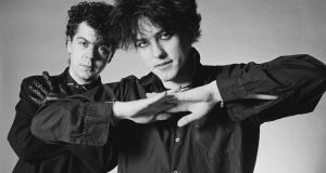 Lol Tolhurst (left) and Robert Smith (right) from The Cure pose together in London in January 1983. Photograph: Fin Costello/Redferns
