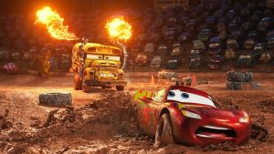 Mud-slinging: Lightning McQueen (voiced by Owen Wilson) in Cars 3