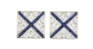 Pair of sapphire and diamond cufflinksfrom Tiffany at O'Reilly auction