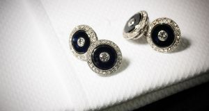 Onyx dress set and two pairs of onyx and diamond cufflinks €1,687 at Sotheby's
