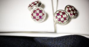 Pair of ruby and diamond cufflinks went for €6,752 at Sotheby's