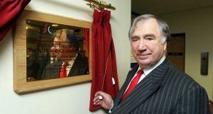 The late Edward Haughey, Lord Ballyedmond, pictured in 2012, unveiling  a plaque in his honour at the Southern Regional College in Newry. Photograph: Kelvin Boyes / Press Eye