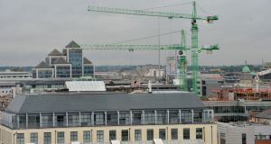 Cranes on the Dublin skyline. Industrial action by crane operators is expected to spread.
