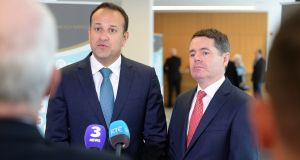 Taoiseach Leo Varadkar  and Minister for Finance Paschal Donohoe at the National Economic Dialogue, in Dublin Castle. Photograph: Dara Mac Dónaill/The Irish Times
