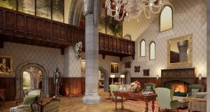 The  entrance hall of the Adare Manor
