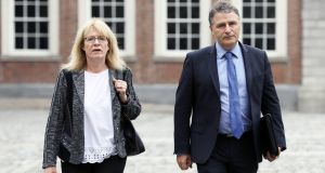 Kay McLoughlin with Gerard Lowry at the The Disclosures (Charleton) Tribunal in Dublin Castle. Photograph: Collins