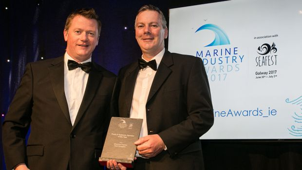 Declan McDonald, Partner, PwC presents the Ports & Harbours Operator of the Year award to Pat Keating, Shannon Foynes Port Company.
