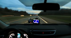Garmin's dash cam also provides red light and speed camera location warnings. Photograph: Douglas Sacha/Getty