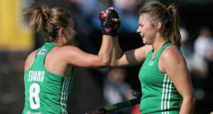 Nicola Evans of Ireland celebrates scoring their teams first goal with Deirdre Duke of Ireland during day three of the FIH Hockey World League Semi Finals Pool A match between Ireland and Poland at Wits University in Johannesburg, South Africa. Photo: Jan Kruger/Getty Images for FIH