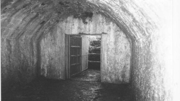 "View of ""Sing Sing"", the vault at Kilquane Cemetery, Knockraha, Co Cork, used by the IRA for holding prisoners during the War of Independence. Photograph: Gerard Murphy/The Year of Disappearances"