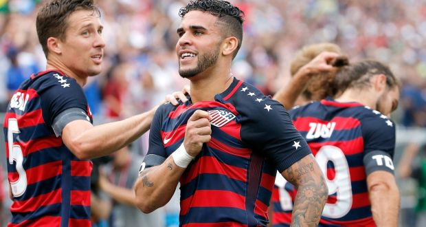 4109bc394 Dom Dwyer celebrates scores on his debut for the US against Ghana on July  1st in