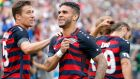Dom Dwyer  celebrates scores on his debut for the  US against Ghana on July 1st in East Hartford, Connecticut. Photograph:  Jim Rogash/Getty Images