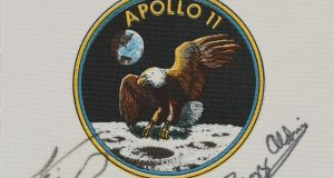 A crew-signed 'Apollo 11' emblem flown to the moon by command module pilot Michael Collins