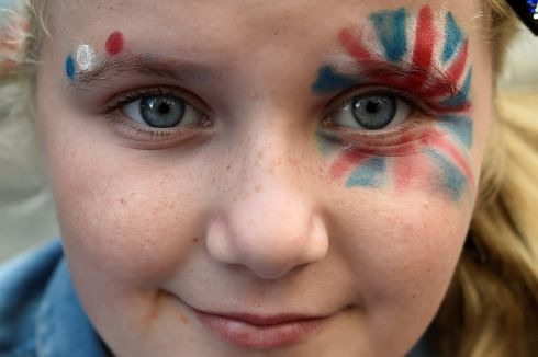 Rhea Robinson attends the Twelfth of July events in Belfast. Photograph: Clodagh Kilcoyne/Reuters