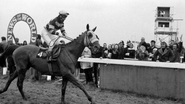 Tommy Carberry eases L'Escargot just past the post after winning the Grand Nationat at Liverpool in 1975. Photograph: Tommy Collins/The Irish Times