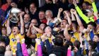 Roscommon celebrates as Ciaran Murtagh lifts the trophy. The sheer Roscommon-ness of last Sunday is hard to overstate. Photograph: Tommy Dickson/Inpho