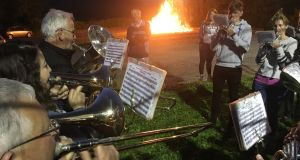 Eleventh Night at Roughan, Co Tyrone: the Silver Band play 'Kenilworth' at the bonfire.  Photograph: Peter Murtagh