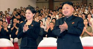 North Korean leader Kim Jong-un and and Ri Sol-ju. Photograph: AP Photo/Korean Central News Agency via Korea News Service