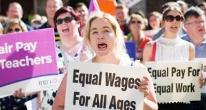 Teachers protest last May to highlight the case for equal pay, in a demonstration organised by the INTO and TUI. File photograph: Kenneth O'Halloran
