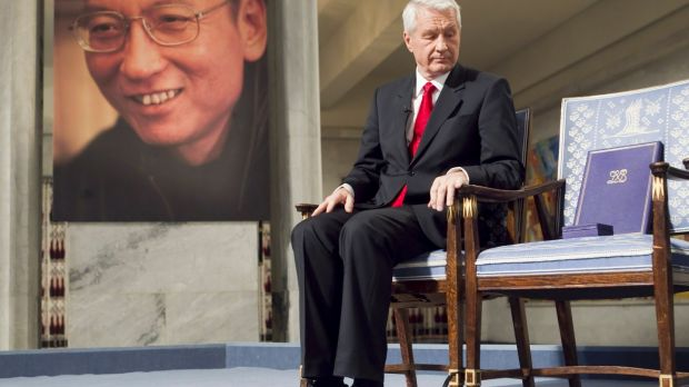 Nobel Committee chairman Thorbjorn Jagland sits next to an empty chair symbolising the absence of jailed Chinese activist Liu Xiaobo during the Peace Prize ceremony in Oslo, Norway, December 10th, 2010. File photograph: Heiko Junge/EPA