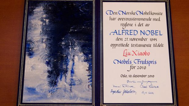 The Nobel Peace Prize certificate awarded to Chinese dissident Liu Xiaobo in December 2010. File photograph: Berit Roald/Scanpix Norway/Reuters