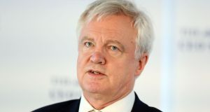 British Brexit secretary David Davis, who has made an appeal for MPs to 'work together' on the UK's exit from the EU. Photograph: Jonathan Brady/PA