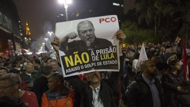 Lula jail sentence: Brazilians demonstrate against the former president's conviction for corruption. Photograph: Sebastiao Moreira/EPA