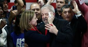 "Corruption conviction: Gleisi Hoffmann of the Workers' Party with Lula on Thursday. ""Any election without the participation of President Lula is a fraud,"" she warned. Photograph: Miguel Schincariol/AFP/Getty"