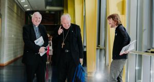 Bishop of Limerick Brendan Leary, Cardinal Christoph Schönborn  and Fr Chris O'Donnell at the Let's Talk Family: Let's Be Family conference in Mary Immaculate College, Limerick. Photograph: Brian Arthur