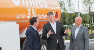 Topaz (Circle K Ireland) managing director Niall Anderton; Jacob Schram, group president, European operations of Circle K; and Jorn Madsen, executive vice-president, Central and  Eastern Europe, Circle K, at the  launch of Topaz's new Miles fuel brand.  Photograph: Naoise Culhane