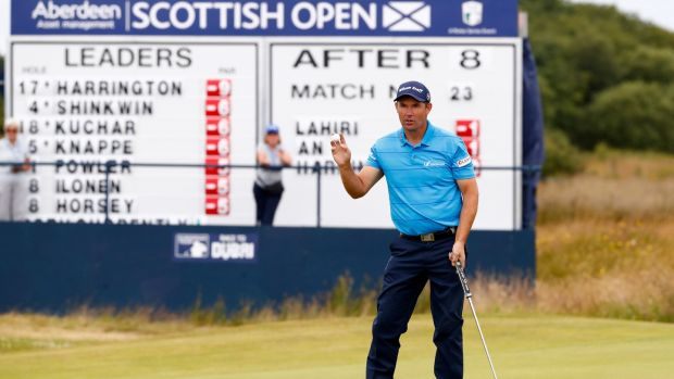 Padraig Harrington of Ireland acknowledges the crowd on the 9th green during day two of the AAM Scottish Open at Dundonald Links Golf Course in Troon, Scotland. Photo: Gregory Shamus/Getty Images