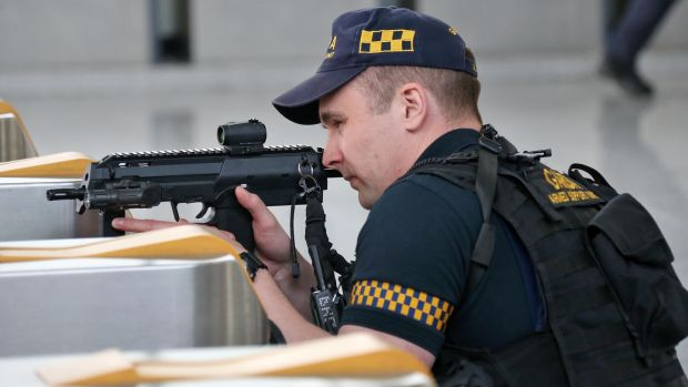 Members of the Garda Armed Support at Spencer Dock train station during Friday's simulation. Photgraph: Collins
