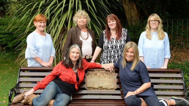 "Front left: Nicole Rourke and Carol Hunt; back row (from left): Margaret O'Sullivan, Theresa Evers, Órla McGovern and Zita Mc Gowan, the original cast of ""Eclipsed""on the Magdalene bench in St Stephen's Green. Photograph: Dara Mac Donaill"