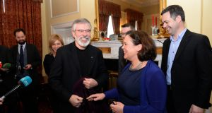 Sinn Féin's Gerry Adams and Mary Lou McDonald: at the start of this year they both signalled that the party needed to review its position on coalition. Photograph: Dara Mac Dónaill