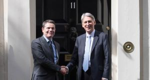 Downing Street talks: Minister for Finance Paschal Donohoe and British chancellor Philip Hammond. Photograph: Stefan Rousseau/PA Wire