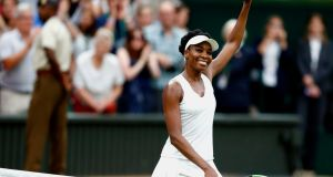 Venus Williams  celebrates her win over Jelena Ostapenko of Latvia in  their quarter-final match at  Wimbledon. Photograph: EPA/Nic Bothma