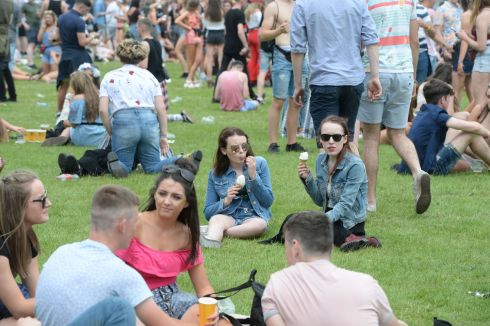 Revellers  enjoying the first day of Longitude music festival  at Marlay Park. Photograph: Alan Betson/The Irish Times