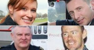Helicopter crew (clockwise): Capt Dara Fitzpatrick, Mark Duffy, Ciarán Smith and Paul Ormsby: It is four months since their helicopter crashed off the north Mayo coast with the loss of all four crew members