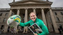Irish captain, Niamh Briggs was at the GPO to unveil a special €1 postage stamp celebrating Ireland's hosting of the 2017 Women's Rugby World Cup. Photo: Morgan Treacy/Inpho