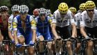 Dan Martin (centre) rides during the 181,5km ninth stage of the 104th edition of the Tour de France cycling race on July 9th  between Nantua and Chambery. Photograph: Philippe Lopez/AFP/Getty Images